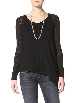 Acrobat Women's Slub Asymetrical Hem Sweater (Black)