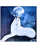 Liflad Artmart Acrylic and Canvas Full Moon Painting (51 cm x 51 cm)