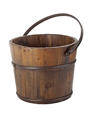 Antique Revival Wooden Round Wash Bucket (Natural)