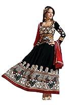Vibes Womens Georgette Patch Work Anarkali Unstitched Dress Material (V162-3008 D _Black)