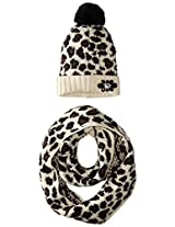 Betsey Johnson Women's Knit Mixed-Yarn Pretty Kitty Infinity Scarf with Beanie