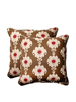 Set of 2 Outdoor Rise and Shine Henna Corded Square Toss Pillows (Red/Brown/Tan)