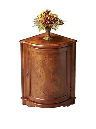Butler Specialty Company Corner Cabinet, Olive Ash Burl