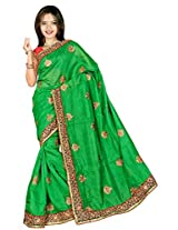 Chinco Silk Saree With Blouse Piece (1101-D -Green)