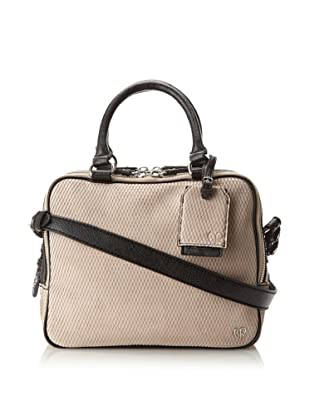 Charlotte Ronson Women's Diamond Cut Triple Zip Satchel (Stone)