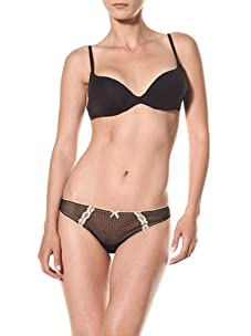 Cosabella Women's Coquette Low Rise Thong (Pack of 2) (Black/Nude)