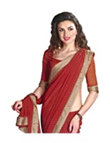 Faux Georgette Saree in Orange Colour for Casual Wear Wear