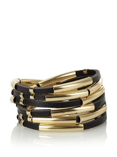 Linea Pelle Tribal Sliced Double Wrap Bracelet, Black