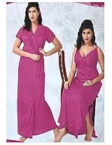 Indiatrendzs Womens Silk Satin 2pc set Nighty Fuchsia Sexy Bedroomwear freesize