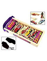 23Pcs Wooden Magnetic Cutout Stickers in Wooden Carry Case for Kids Ages 3+ Years - Fire Engine