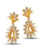 Surat Diamonds Flower Shaped Real Rice Pearl & Gold Plated Hanging Earrings for Women (SE22)
