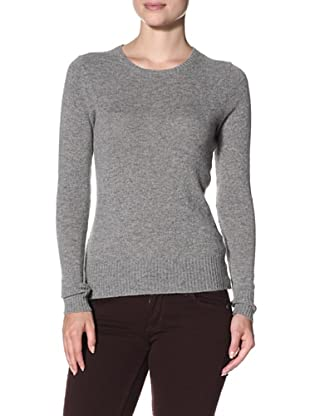 Cashmere Addiction Women's Long Sleeve Crew Neck Sweater (Fog)