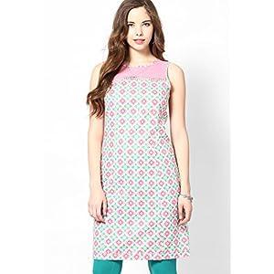Pink Printed Sleeveless Cotton Kurta With Swiss Dot Net At Yoke