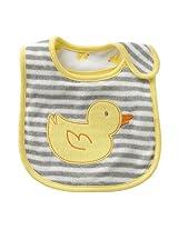 Carter s Yellow Duck Gray White Stripe Baby teething/feeding REVERSIBLE Bib