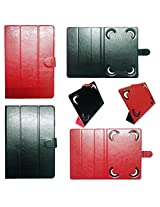 """IndiSmack Reversible Flip Folio Case Cover Cum Stand for 7"""" 7 inch Tablets (Black+Red)"""