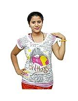 Odishabazaar Women's Cotton Oh Honey Print White Pink T-shirt S