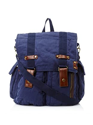 J. Campbell Los Angeles Men's Washed Canvas Backpack Messenger (Navy)