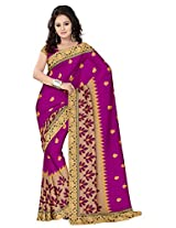 Utsav Fashion Women's Magenta and Beige Art Silk and Net Saree with Blouse