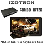 iZotron NKS007 Tab 7.0 with Keyboard Case (WiFi, 3G via Dongle), White-Black