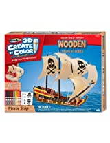 RoseArt 3-D Create N Color Wooden Pirate Ship