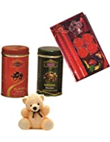 Skylofts 182gms Luscious Chocolate coated nuts Tin packs with a candle diya set & a cute teddy Diwali combo