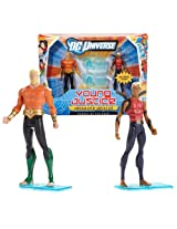 Mattel Year 2011 Dc Universe Young Justice Series 2 Pack 4 Inch Tall Action Figure Set - Heroes Of The Deep With Aquaman And Aqualad Plus 2 Display Bases By Dc Comics