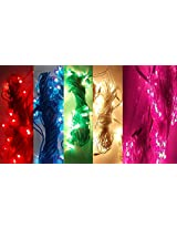 Toygully Diwali Decoration Pack of 5 Rice Lights - Red, Blue, Pink, White, Green, 5 Mtr Long, 30 Bulbs