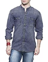 Zovi Cotton Slim Fit Casual Blue Denim Shirt With Mandarin Collar (11229604801_39)