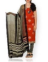 Unnati Silks Women Unstitched orange-cream pure handloom Mangalagiri cotton salwar Kameez