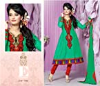 Bottle Green Embroidered Anarkali Unstitched Suit 012