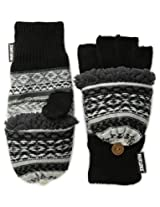 Muk Luks Men's Reverse Fairisle Textured Flip Mittens, Black/Grey, One Size