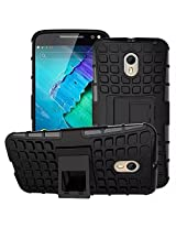 Kavacha Flip Kick Stand Spider Hard Dual Rugged Armor Hybrid Bumper Back Case Cover For Motorola Moto X Style - Rugged Black