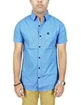 AA' Southbay Men's Blue Geometry Print 100% Cotton Half Sleeve Casual Shirt