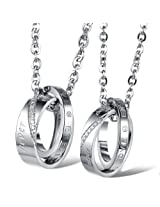 "Eubest Christmas Gifts His & Hers Matching Set Couple Pendant Necklace Korean Style Stainless Steel 2 Rings Mixted Together Never Change"" W/ Cz Rhinestone Men Women Lover Pendant Couple Necklaces One Pair"