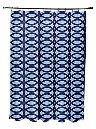 e by design Ovals Shower Curtain, Blue/Light Blue