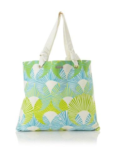 Julie Brown Reversible Shopper Tote (Green Fans/Polka Dot)