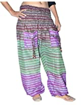 Famacart Women Tie dye Harem Pant Free Size Green