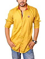 Nation Polo Club Men's 100% Cotton Lycra Coduroy Pattern Slim Fit Casual Golden Color Shirt M