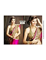 Designer Bollywood Stylish Dark Pink Georgette Sari Saree Lehenga TM42