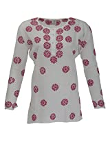 Go Lucknow Women's Cotton Regular Fit Kurti (GL-AM-183, White, Medium)
