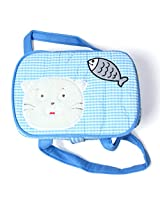 Fabric Organizer Storage Container Basket Bin Cat and Fish (Blue)