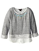 My Michelle Big Girls' Knit Long-Sleeve Top with Chiffon Hem