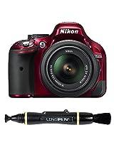 Nikon D5200 24.1MP Digital SLR Camera (Red) with AF-S 18-55 mm VR II Kit Lens + Memory Card + Camera Bag + Lenspen NLP-1 Cleaning Brush (Black)