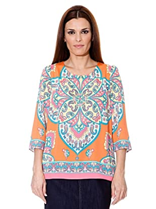 Cortefiel Bluse Tuch (Orange/Blau)