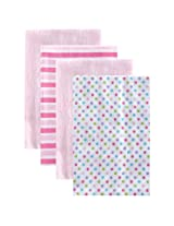 Luvable Friends 4 Pack Baby Burp Cloths, Pink