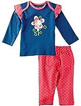 Infant Girls Full Sleeves Tee with Legging Set, Navy Blue (0-3 Months)