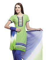 Ethnic Label Women's Cotton Anarkali Suit (SKD_Green_X-Large)