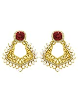 Peora Mughal Earrings for Women (Red)