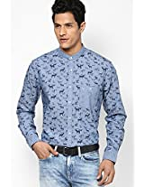 Blue Printed Regular Fit Casual Shirt Allen Solly