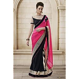 Ninecolours Bahubali Designer Saree - Pink & Black
